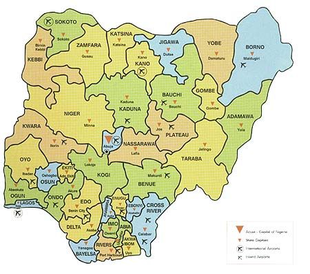 Nigeria map with provinces and capital cities